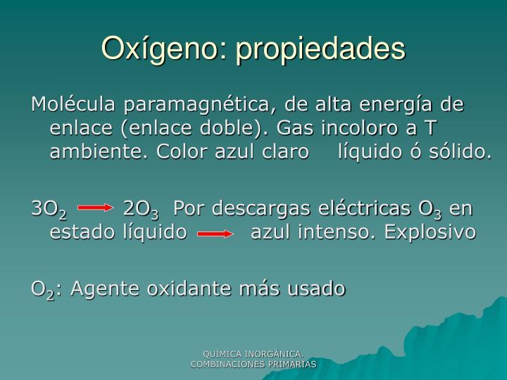 Oxígeno: propiedades
