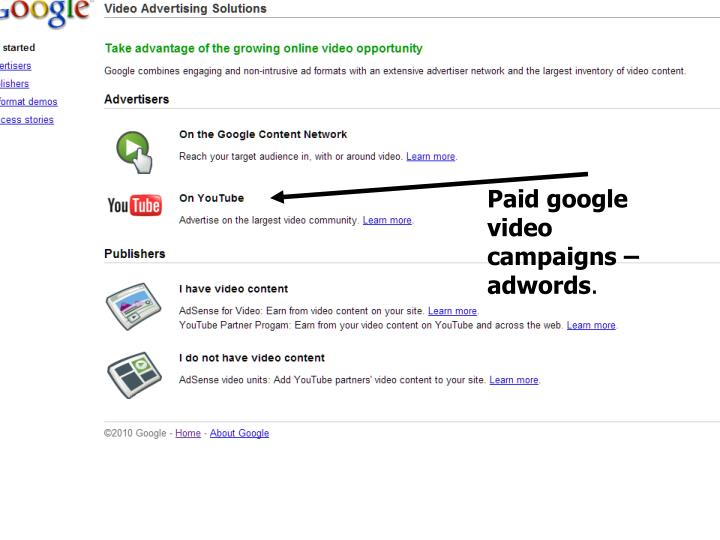 Paid google video campaigns – adwords