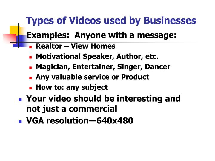 Types of Videos used by Businesses