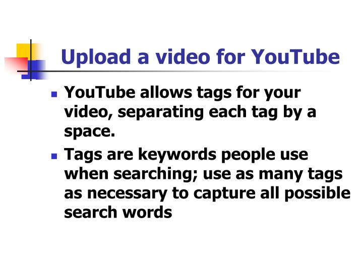 Upload a video for YouTube
