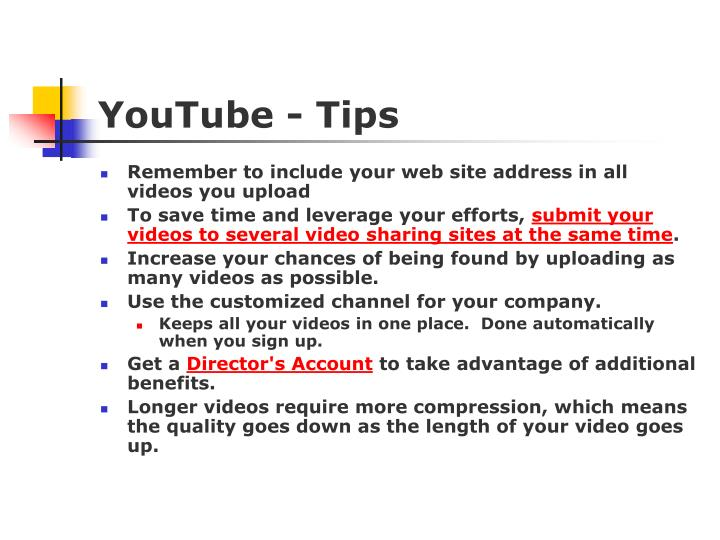 YouTube - Tips