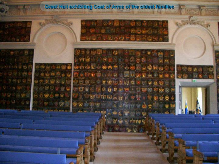 Great Hall exhibiting Coat of Arms of the oldest families