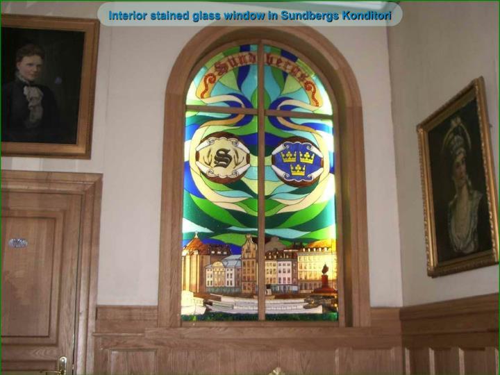 Interior stained glass window in Sundbergs Konditori