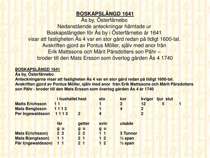 BOSKAPSLÄNGD 1641