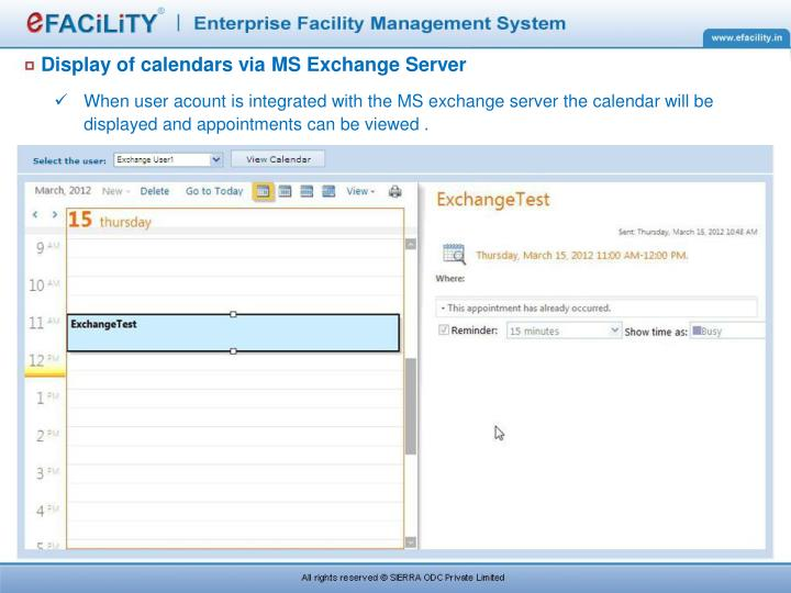 Display of calendars via MS Exchange Server