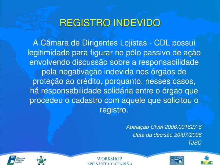REGISTRO INDEVIDO