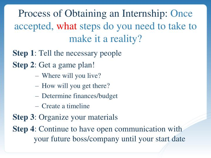 Process of Obtaining an Internship: