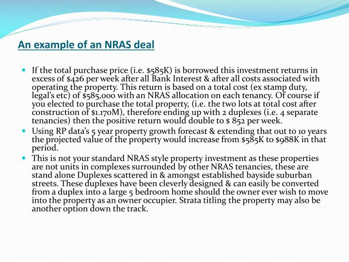 An example of an NRAS deal