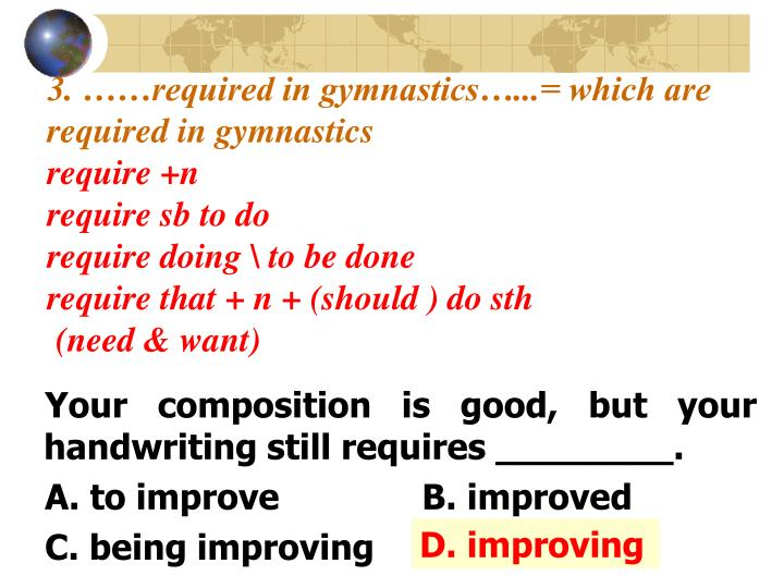 3. ……required in gymnastics…...= which are  required in gymnastics