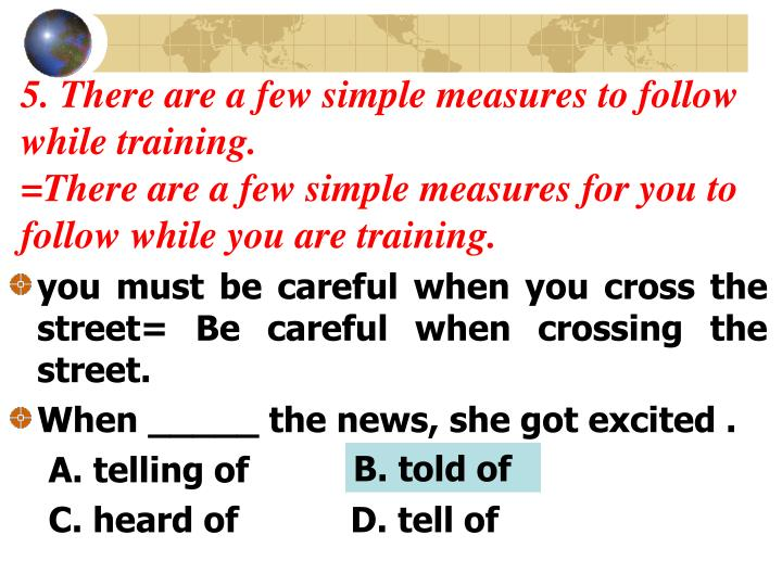 5. There are a few simple measures to follow     while training.