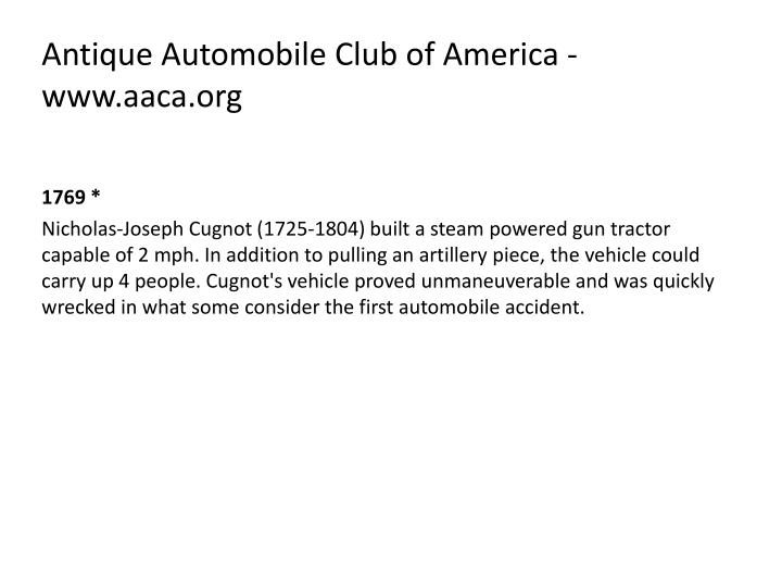 Antique Automobile Club of America - www.aaca.org
