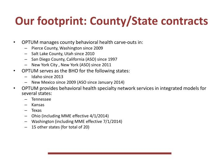 Our footprint: County/State contracts