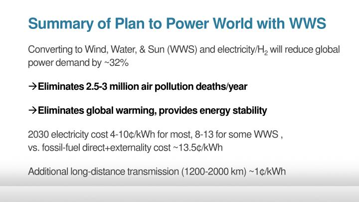 Summary of Plan to Power World with WWS