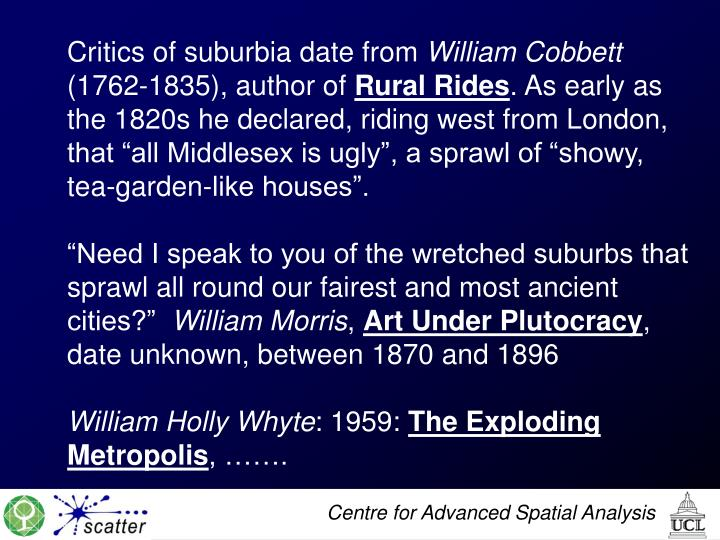 Critics of suburbia date from