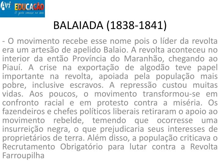 BALAIADA (1838-1841)