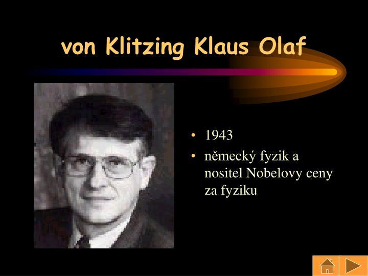 von Klitzing Klaus Olaf