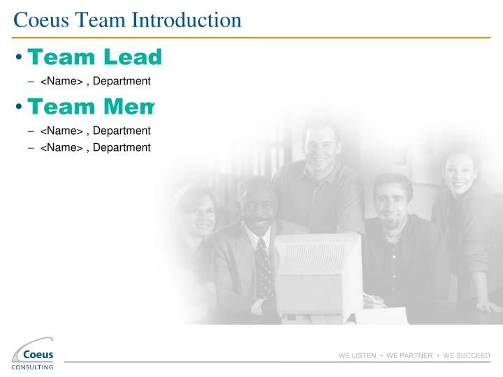 Coeus Team Introduction