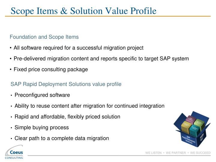 Scope Items & Solution Value Profile
