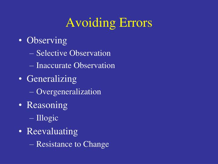 Avoiding Errors