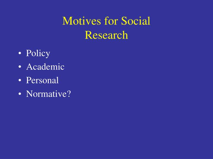 Motives for Social