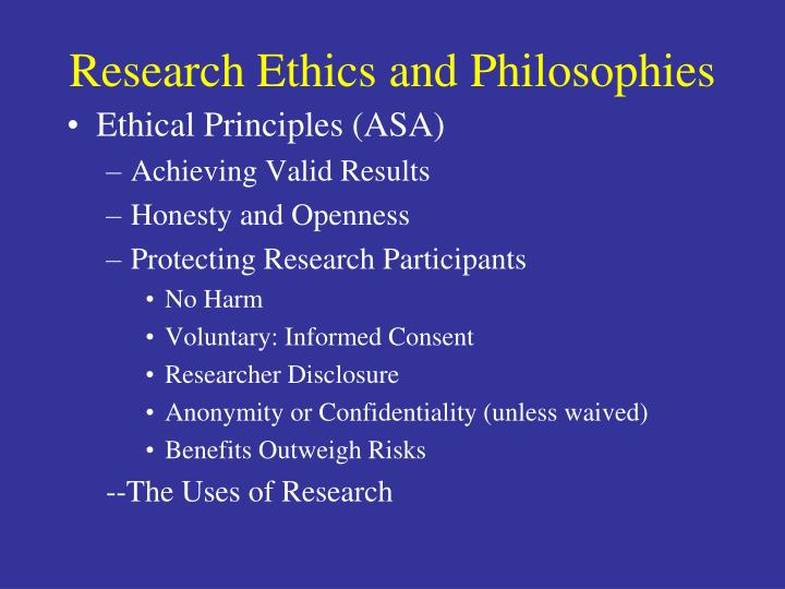 Research Ethics and Philosophies