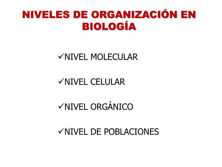 NIVELES DE ORGANIZACIÓN EN BIOLOGÍA