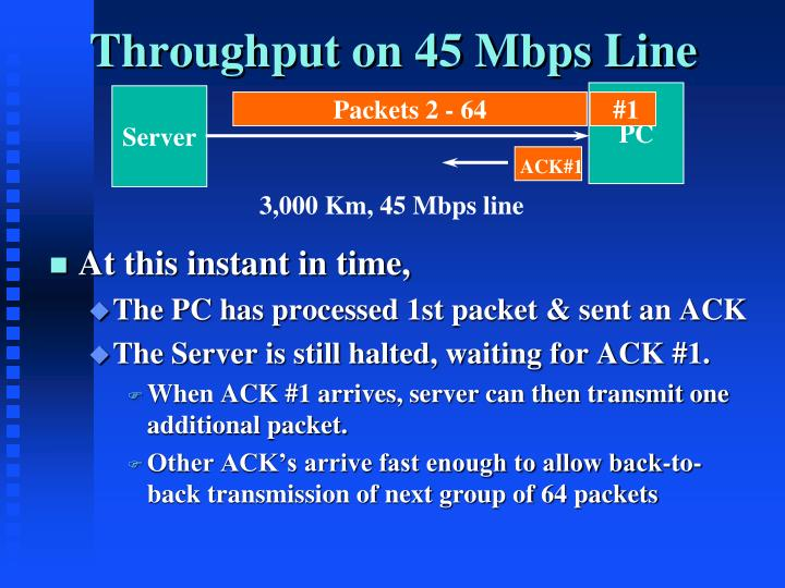 Throughput on 45 Mbps Line