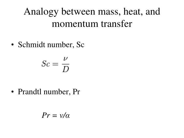 Analogy between mass, heat, and momentum transfer