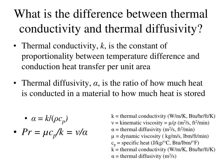 k = thermal conductivity (W/m/K, Btu/hr/ft/K)