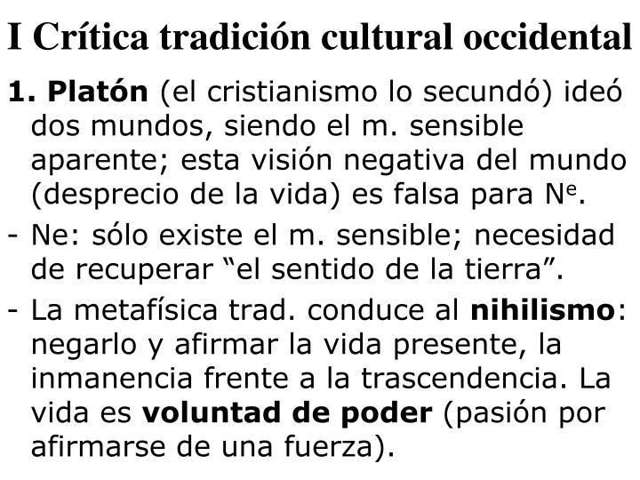 I Crítica tradición cultural occidental