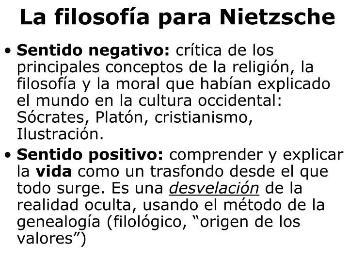 La filosofía para Nietzsche