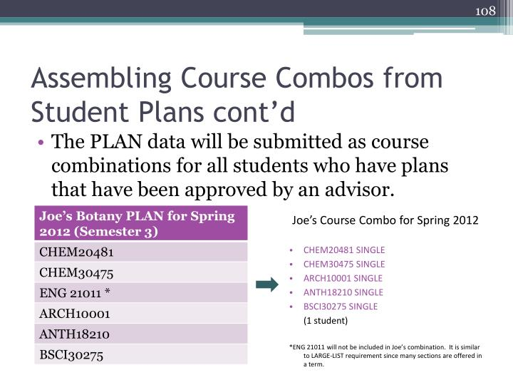Assembling Course Combos from Student Plans cont'd