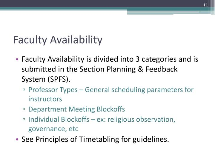 Faculty Availability