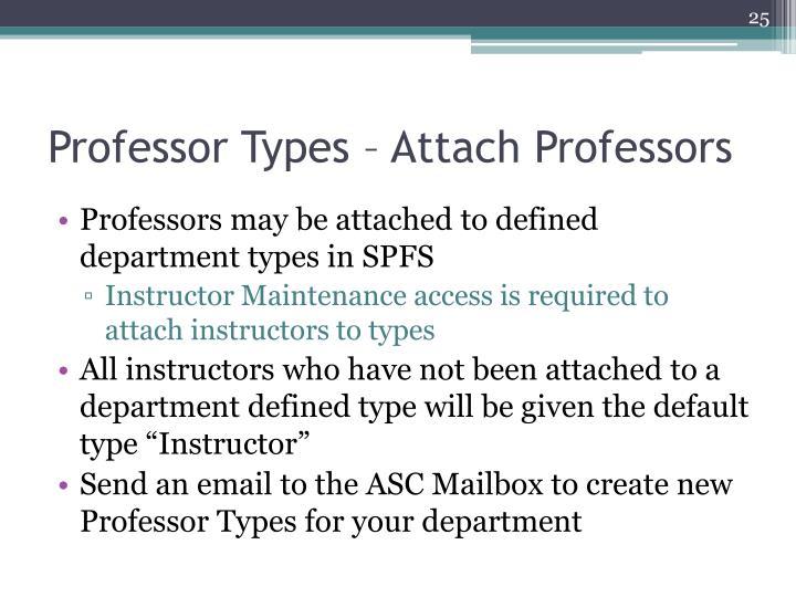Professor Types – Attach Professors