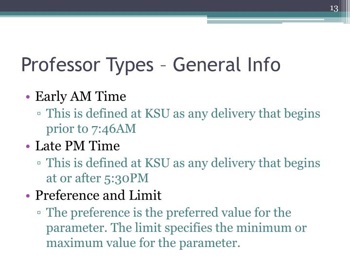 Professor Types – General Info