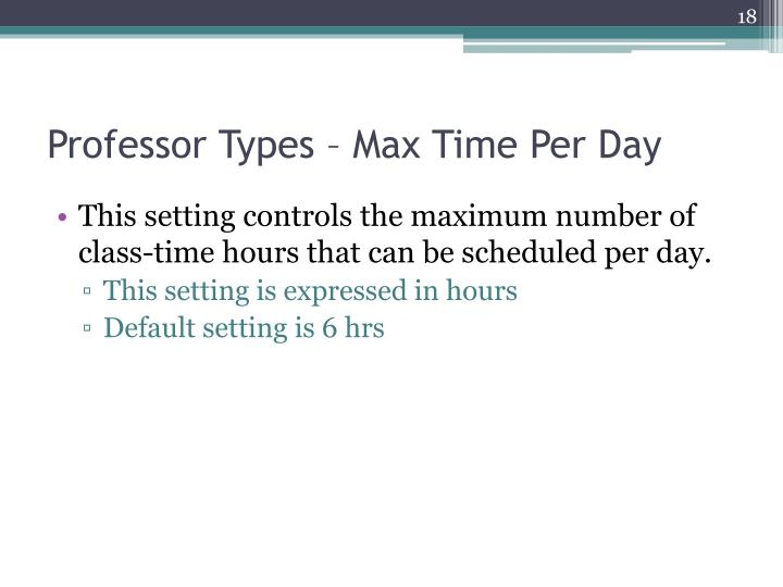 Professor Types – Max Time Per Day