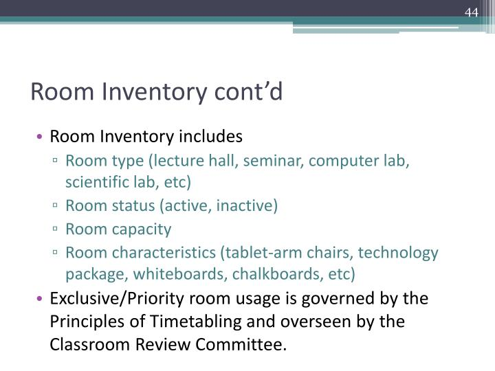 Room Inventory cont'd