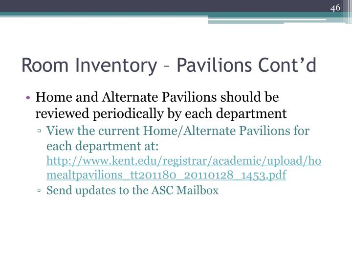 Room Inventory – Pavilions Cont'd