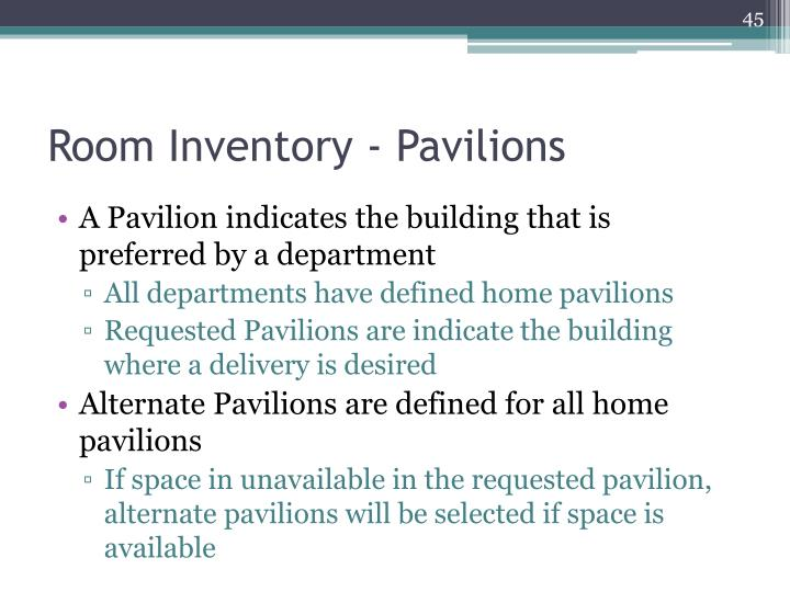 Room Inventory - Pavilions