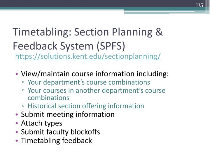 Timetabling: Section Planning & Feedback System (SPFS)