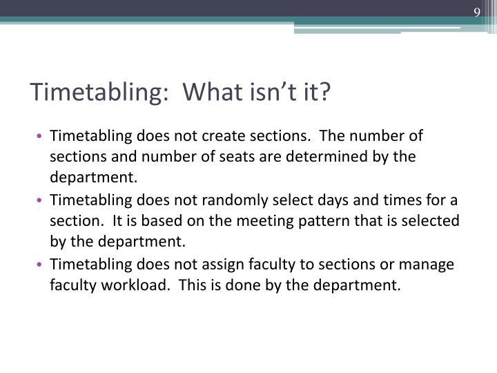 Timetabling:  What isn't it?
