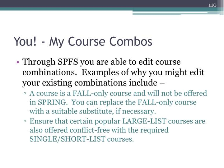 You! - My Course Combos