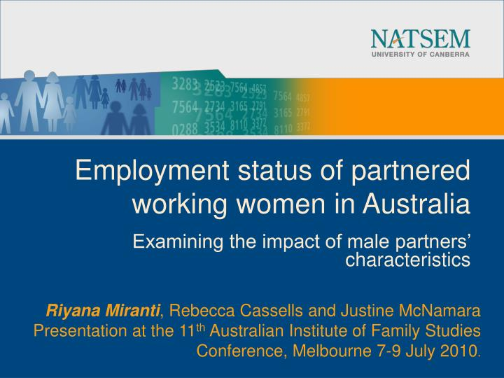 Employment status of partnered working women in australia