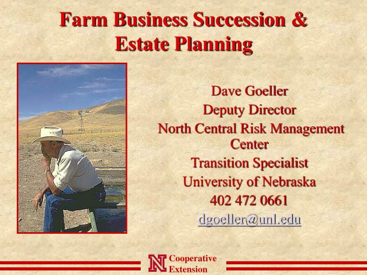 Farm business succession estate planning
