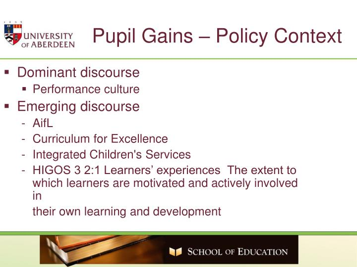 Pupil Gains – Policy Context