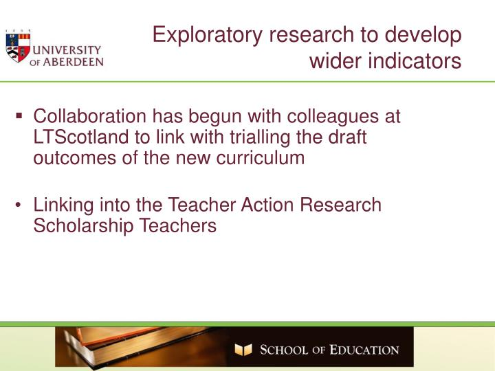Exploratory research to develop
