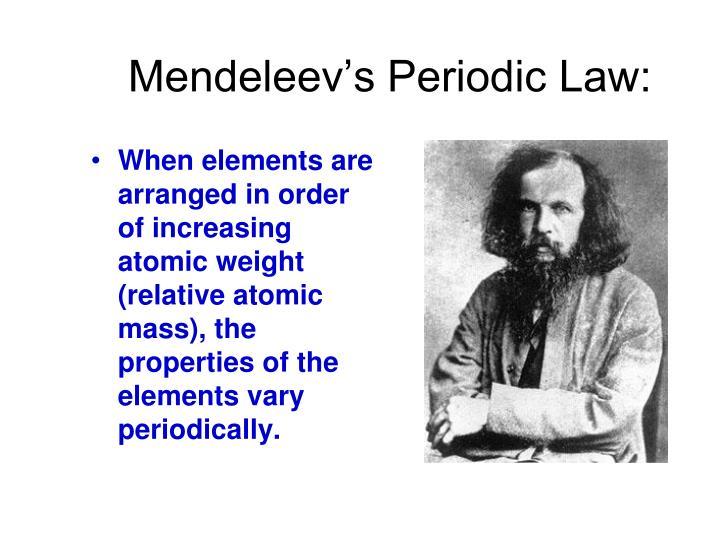Mendeleev's Periodic Law: