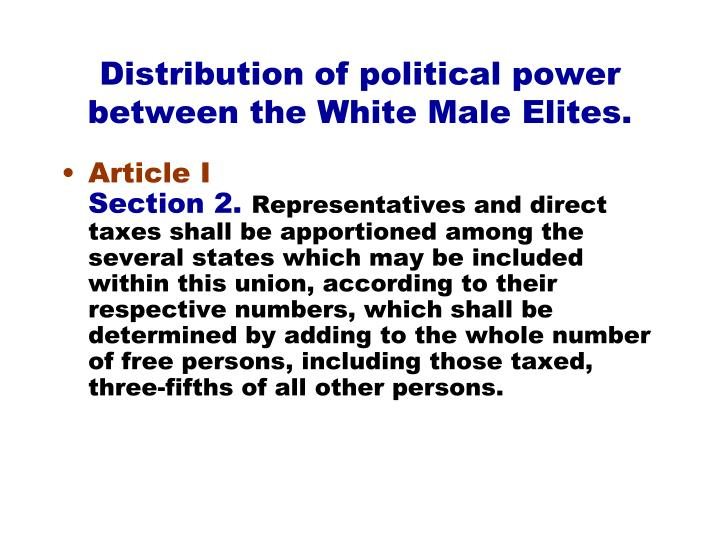 Distribution of political power between the White Male Elites.