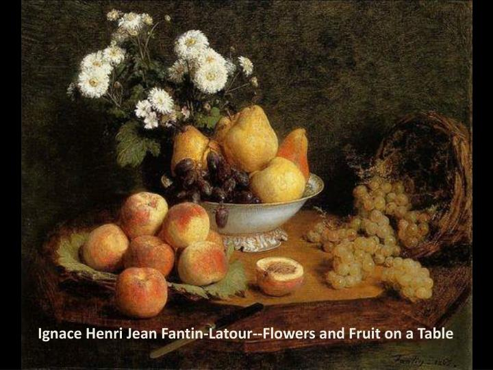 Ignace Henri Jean Fantin-Latour--Flowers and Fruit on a Table