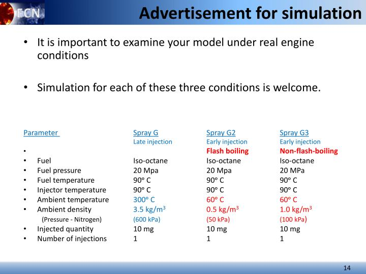Advertisement for simulation